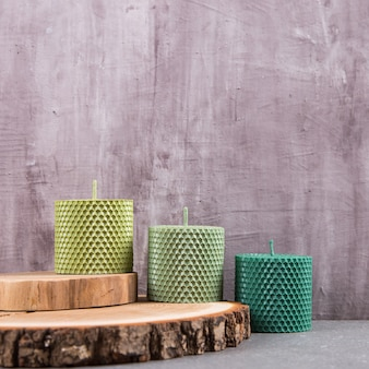 Colored, unusual handmade candles, an element of the interior.