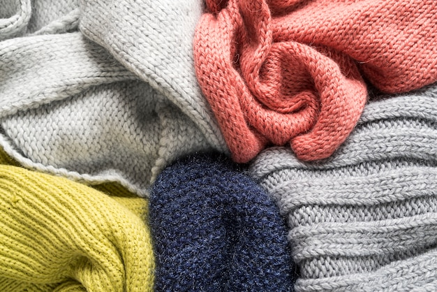Colored warm knitted things
