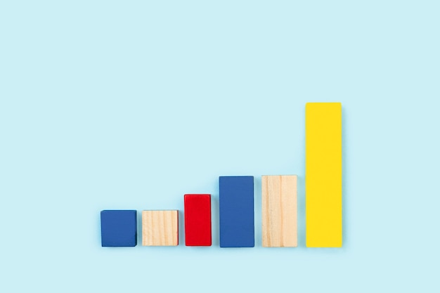 Colored wooden cubes like bars infographic design
