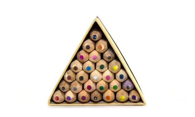 Colored wooden pencils in triangular package.