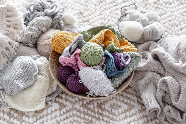 Colored yarn for knitting, threads in pastel colors.
