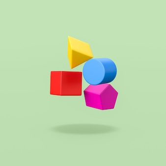 Colorful 3d geometric shapes on green background