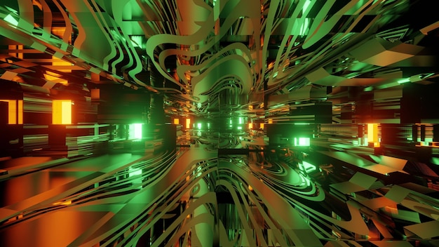 Colorful 3d illustration abstract background inside of futuristic virtual tunnel with neon lights and glass mirrored structure