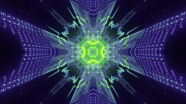 화려한 3d 그림 빛나는 녹색 네온 구멍과 대칭 기하학적 패턴을 형성하는 깜박이는 보라색 점 환상적인 에너지 터널 내부 추상 미래의 배경