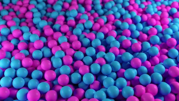 抽象的な青と紫の球の山のカラフルな3 dイラスト
