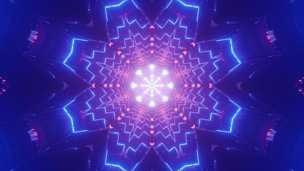 생생한 빛나는 꽃의 화려한 3d 일러스트 모양의 추상 축제 배경 네온 불빛