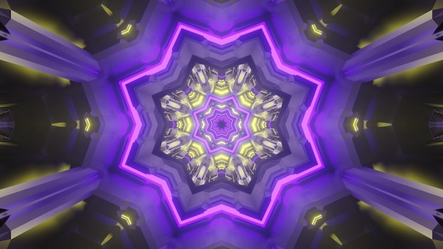 ネオン照明の星型の穴と未来的なトンネルのカラフルな3dイラスト錯視抽象的な背景