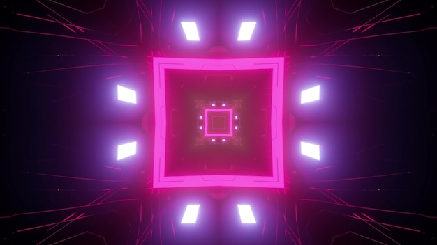 Colorful 3d illustration of pink neon square with symmetric lights as abstract futuristic tunnel
