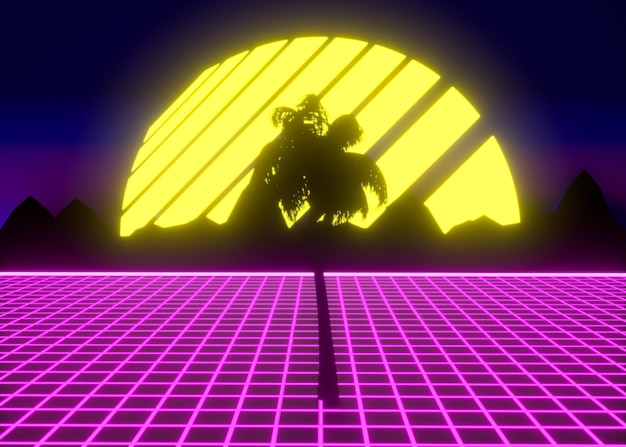 Colorful 3d shapes in vaporwave style