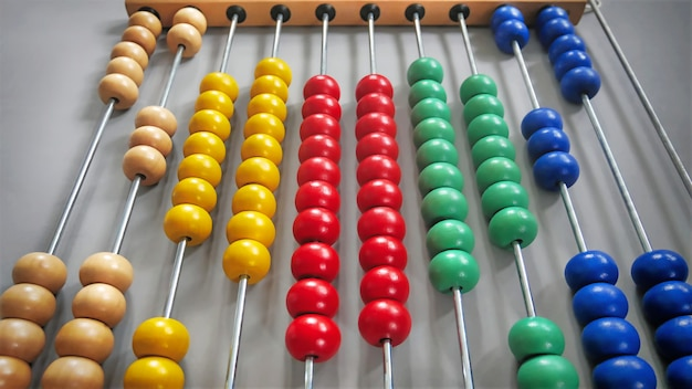 Colorful abacus with beads arranged as heart shape