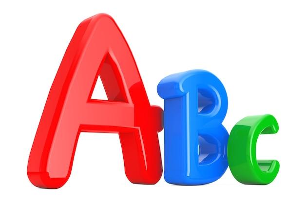 흰색 바탕에 다채로운 abc 언어 학습 기호입니다. 3d 렌더링