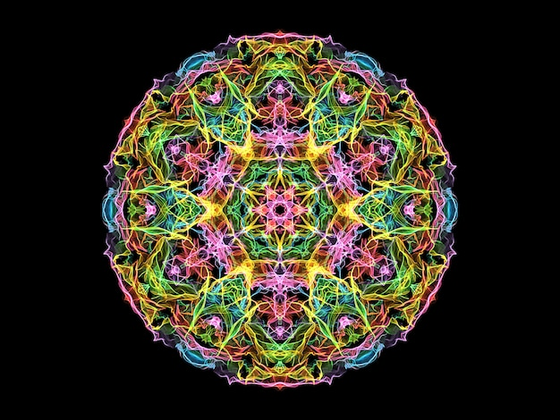 カラフルな抽象的な炎のマンダラの花、ネオンの装飾的な花柄ラウンド