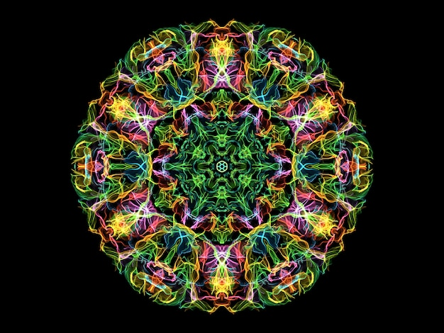 Colorful abstract flame mandala flower, neon ornamental floral round shape. yoga theme