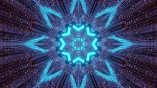 밝은 점이있는 기하학적 꽃과 금속 패널의 모양에 파란색 네온 광선의 흔적이있는 조명 된 터널 내부의 다채로운 추상 미래 기술 배경