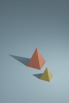 三次元立体図形とカラフルな抽象的な幾何学的図形。配置されたピラミッドプリズム