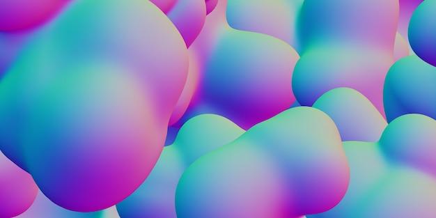 カラフルな抽象的な液体グラデーション幾何学模様グラデーション3dイラスト