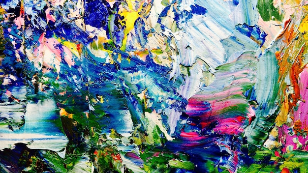 Colorful abstract oil painting on canvas