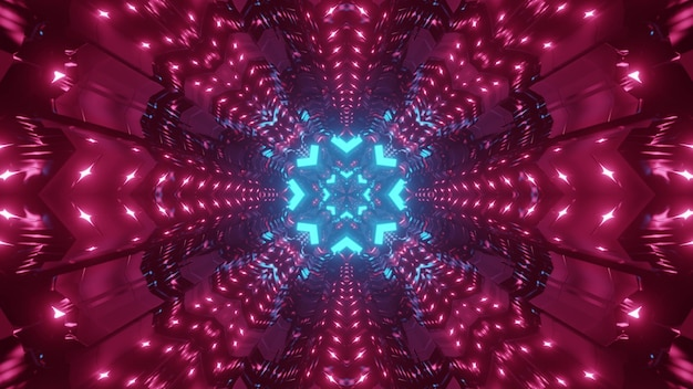 Colorful abstract sci fi background of endless tunnel with geometric flower shaped holes in red and blue neon lights