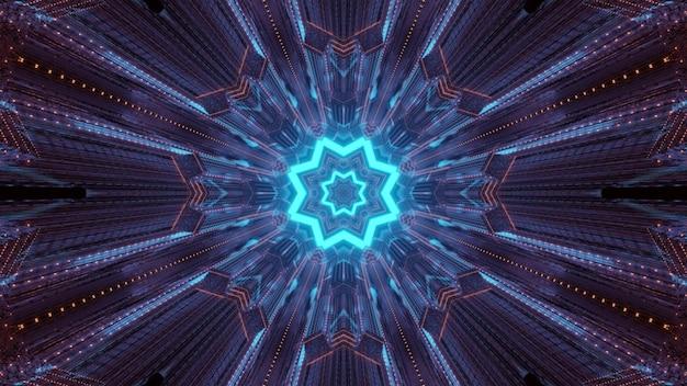 無限の未来的なトンネルの内側に輝く青い幾何学的な星とネオン紫の光の痕跡とカラフルな抽象的なsfの背景