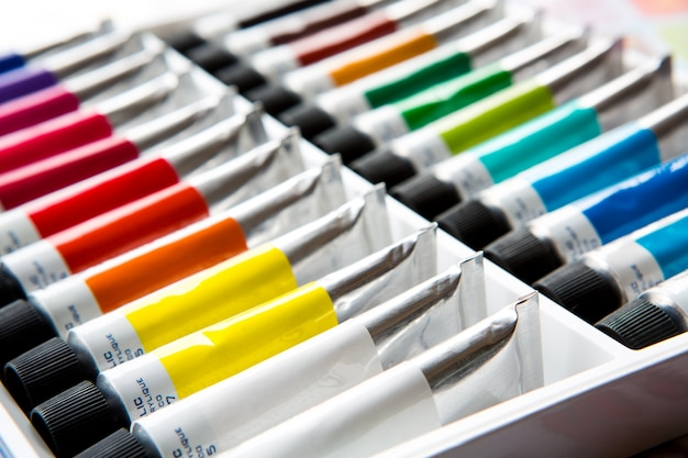 Colorful acrylic paints in tubes