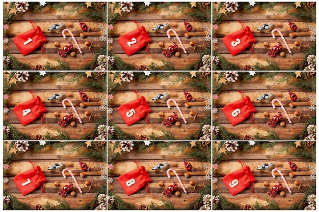 Colorful advent calendar with numbers on