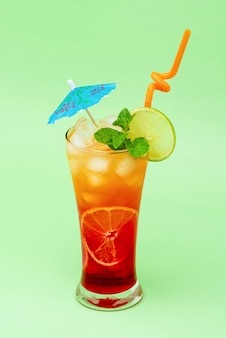 Colorful alcoholic cocktail drink in the glass