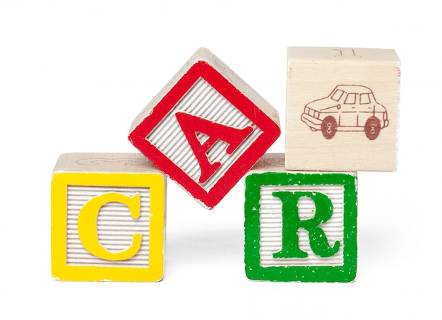 Colorful alphabet blocks. word car isolated