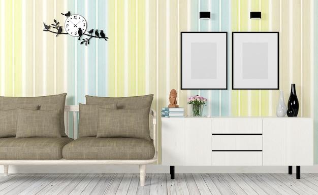 소파와 화려하고 현대적인 인테리어, 포스터와 사이드 테이블을 조롱