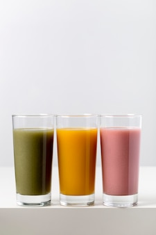 Colorful arrangement of fresh smoothies