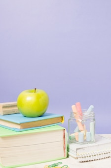 Colorful arrangement of school supplies