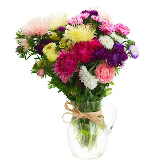 Colorful  aster flowers bouquet in glass vase isolated on white background