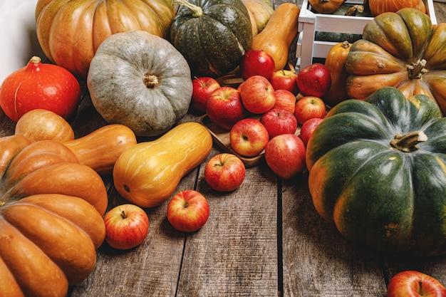 カボチャとリンゴとカラフルな秋の背景