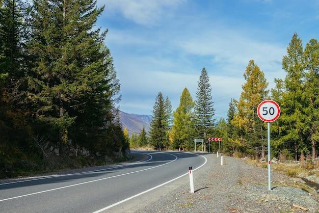 山の高速道路に沿って黄色の枝を持つカラマツとカラフルな秋の風景。秋の色の山道に沿って黄色のカラマツの木がある針葉樹林。秋の山の高速道路。