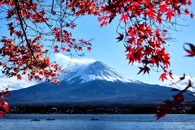 Colorful autumn and mountain fuji with snow capped at lake kawaguchiko