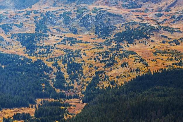 Colorful autumn season in mountains