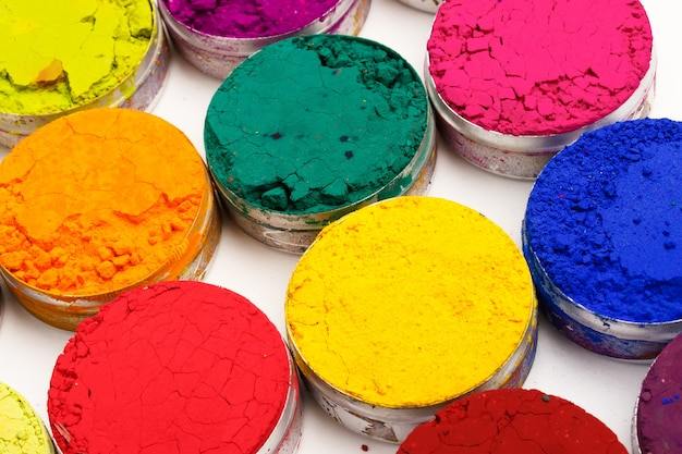 Colorful background made of indian holi festival colours