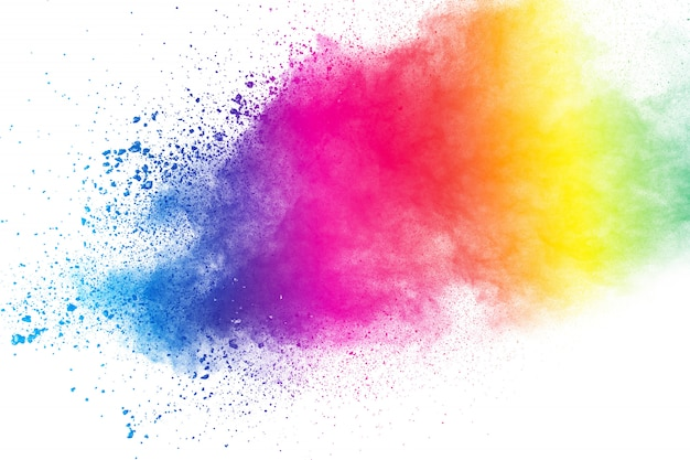 Colorful background of pastel powder explosion.color dust splash on white background.