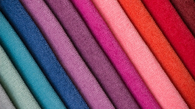 Colorful background, a stack of colorful fabric.