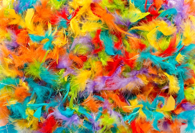 Colorful background of vivid dyed feathers
