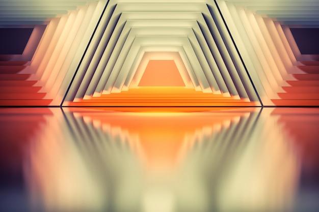 Красочный фон с абстрактными геометрическими симметричными формами трапеции. хорошо для плакатов, брендов, плакатов или обложек.
