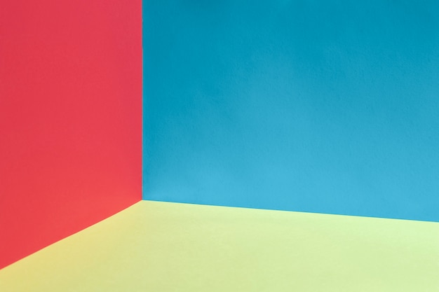 Colorful background with red and blue walls