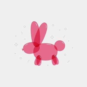 다채로운 풍선 토끼입니다. 어린이 파티, 생일, 그래픽 인쇄를 위한 밝은 장식 요소입니다. 벡터.