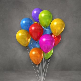 Colorful balloons bunch on a grey wall background. 3d illustration render