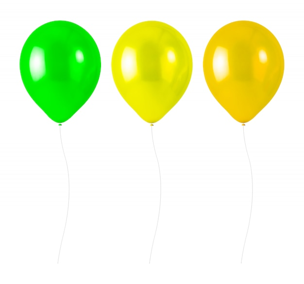 Colorful balloons with rope isolated on white background