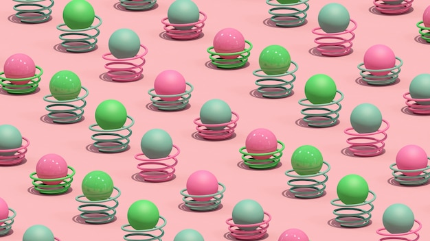 カラフルなボールとスプリング。抽象的なイラスト、3dレンダリング。
