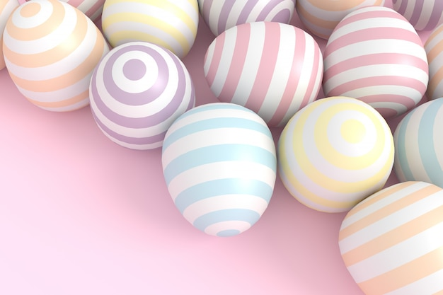 Colorful balls background in pastel tone. 3d rendering.