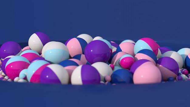 カラフルなボールがモーフィングします。青い背景。閉じる。抽象的なイラスト、