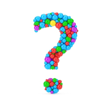 Colorful balls in shape of question mark on a white background. 3d rendering