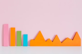 Colorful bar graph and an orange graph on pink background