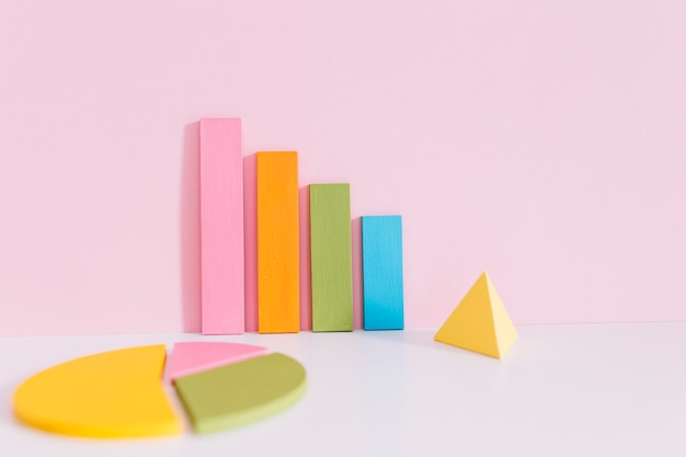 Colorful bar graph; pie chart and yellow pyramid on desk over pink background
